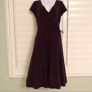 Eggplant v-neck ruched waist dress sz large